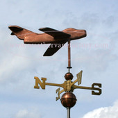 Snub Nose Jet Airplane Weathervane right side view on cloudy background