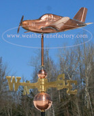 Low Wing Airplane Weathervane left side view on blue sky background