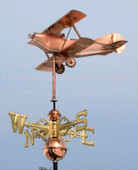 Bi Plane Airplane Weathervane left side view on blue sky background, shown with scrolled directionals