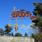 Train Weathervane Left Rear View on Blue Sky Background.