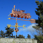 Old Train With Arrow Weathervane Left Front Angle View on Blue Sky Background.