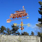 Train Weathervane Right Front View on Blue Sky Background.