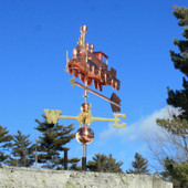 Train Weathervane Left Front View on Blue Sky Background.