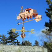 Train Weathervane Rear View on Blue Sky Background.