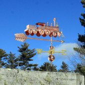 Train Weathervane Right Rear View on Blue Sky Background.