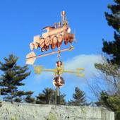 Train Weathervane Front View on Blue Sky Background.
