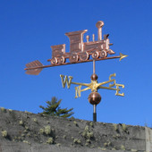 Train Weathervane frontal view on blue sky background