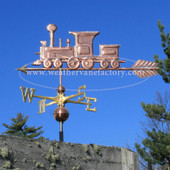 Train Weathervane side view on blue sky background