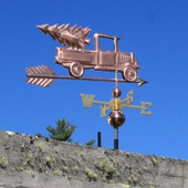 Pickup Truck with Christmas Tree Weathervane right rear side view on blue sky background