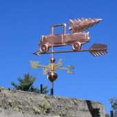 Pickup Truck with Christmas Tree Weathervane left angle side view on blue sky background