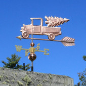 Pickup Truck with Christmas Tree Weathervane left forward side view on blue sky background