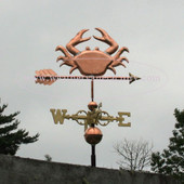 Crab Weathervane left side view on stormy background