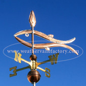 fish weathervane left side view on blue sky background