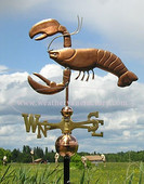 Lobster with Claws Up Weathervane left side view on cloudy background