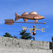 Large Walleye with Arrow Weathervane right side view on blue sky background