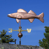 Copper Walleye Weathervane left side view on blue sky background