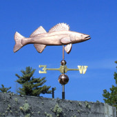 Walleye Weathervane right side view on blue sky background