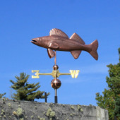 Walleye Weathervane left angle view on blue sky background