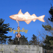 Haddock Weathervane left side view on blue sky background