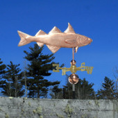 Haddock Weathervane right view on blue sky background