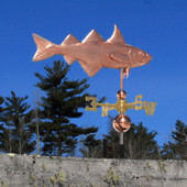 Haddock Weathervane right angle side view on blue sky background