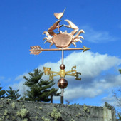 Crab Weathervane holding a Martini Glass Right Side View on Cloudy Background