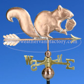 Squirrel Weathervane holding acorn on blue sky background