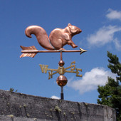 Squirrel Weathervane right side view on blue sky background