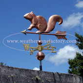 squirrel weathervane left side view on blue sky background