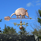 Armadillo Weathervane right side view on blue sky background