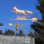 Running Fox Weathervane Left Side View on blue sky background