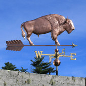 Large Buffalo/ Bison Weathervane right side view on blue sky background