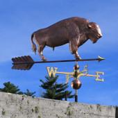 Large Buffalo Weathervane slight angle right side view on blue sky background
