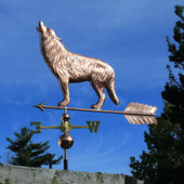 Wolf Weathervane Howling left side view on blue sky background