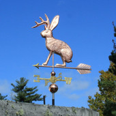 Jackalope Weathervane left side view on blue sky background