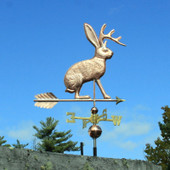 Jackalope Weathervane right angle view on blue sky background