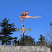 Dragonfly Weathervane left side view on blue sky background