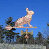 Copper Rabbit Weathervane, right side view on blue sky background