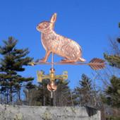 Rabbit Weathervane left side view on blue sky background