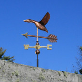 Small Copper Flying Goose Weathervane side left view on blue sky background