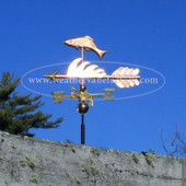 Fish Weathervane left side view on dark blue sky background