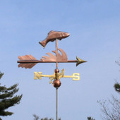 Fish Weathervane right side view on light blue sky background