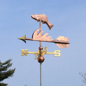 Fish Weathervane left front view on light blue sky background