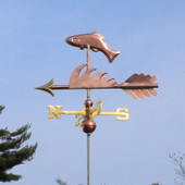 Fish Weathervane left side view on light blue sky background