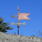 small copper banner weathervane side view