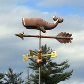 small copper whale weathervane