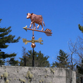 walking cow weathervane angle view