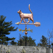 Small Copper Walking Cat Weathervane