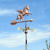 Unicorn Weathervane front view on blue sky background