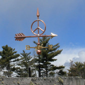 Small Peace Sign Weathervane side view on blue sky background